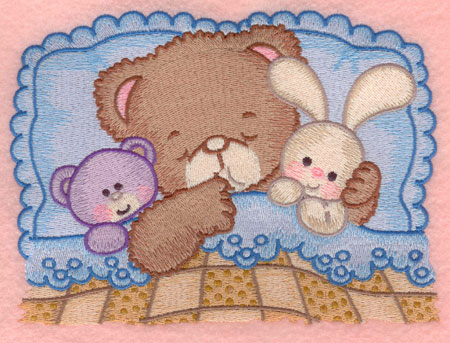 Embroidery Design: Baby bear sleeping with teddy and bunny large6.85w X 5.00h