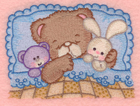 Embroidery Design: Baby bear sleeping with teddy and bunny small5.00w X 3.65h