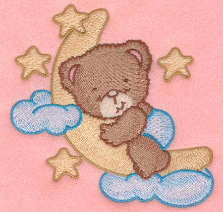 Embroidery Design: Baby bear moon and stars large4.89w X 5.00h