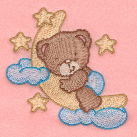 Embroidery Design: Baby bear moon and stars small3.82w X 3.90h
