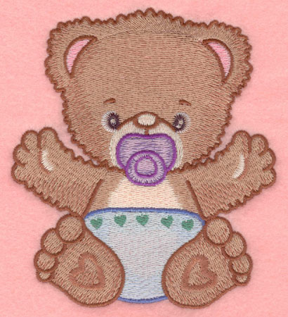 Embroidery Design: Baby bear with pacifier large4.50w X 5.00h