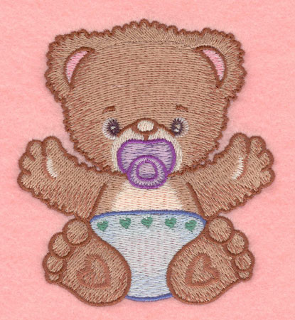 Embroidery Design: Baby bear with pacifier small3.52w X 3.90h