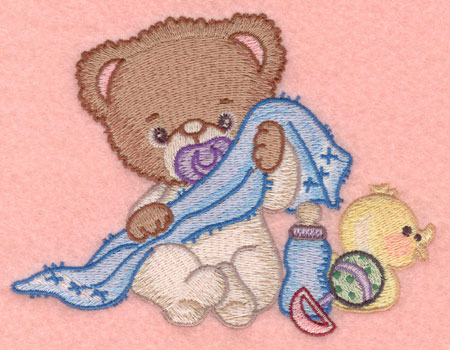 Embroidery Design: Baby bear with blankie rattle bottle and duck5.33w X 3.98h