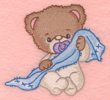 Embroidery Design: Baby bear with blankie large5.00w X 4.62h