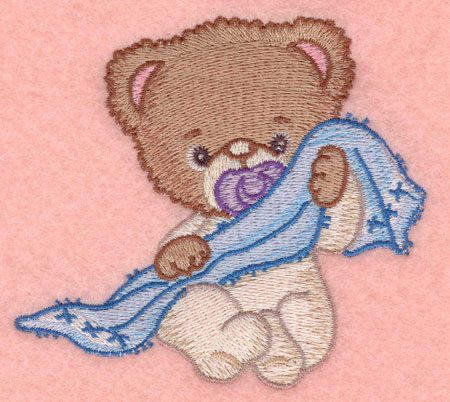 Embroidery Design: Baby bear with blankie small3.90w X 3.61h
