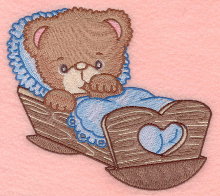 Embroidery Design: Baby bear in cradle large6.20w X 5.00h