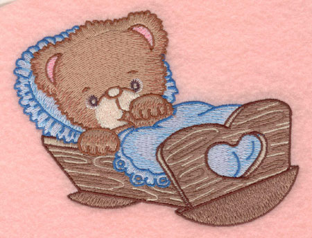Embroidery Design: Baby bear in cradle small4.97w X 3.99h
