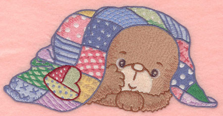 Embroidery Design: Baby bear under quilt7.00w X 3.54h