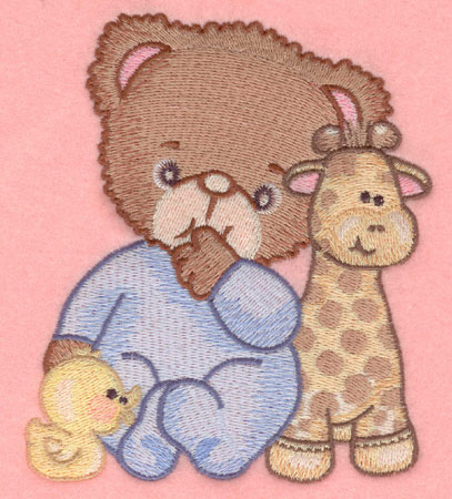 Embroidery Design: Baby bear with duck and giraffe large4.35w X 5.00h