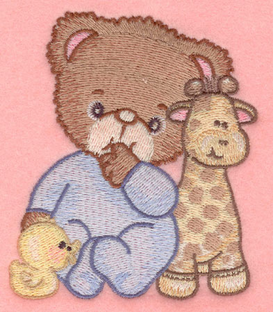 Embroidery Design: Baby bear with duck and giraffe small3.40w X 3.90h