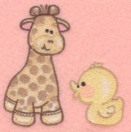 Embroidery Design: Giraffe and duckie3.87w X 3.90h