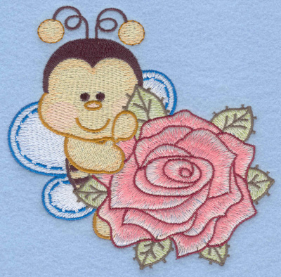 Embroidery Design: Bumble bee with single rose rt large5.01w X 4.98h