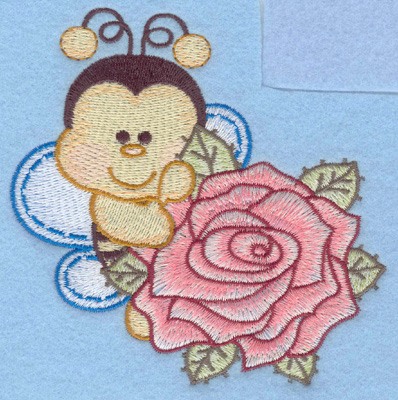 Embroidery Design: Bumble bee with single rose rt small4.36w X 4.32h