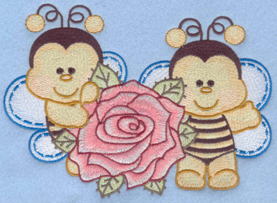 Embroidery Design: Two bumble bees large with rose6.91w X 4.98h