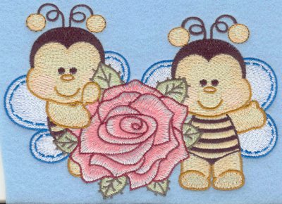 Embroidery Design: Two bumble bees small with rose6.02w X 4.32h