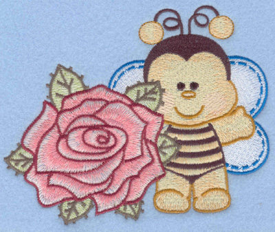 Embroidery Design: Bumble bee with single rose lt large5.70w X 4.58h