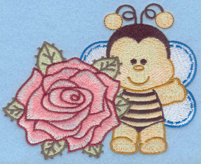Embroidery Design: Bumble bee with singe rose lt small4.96w X 3.98h
