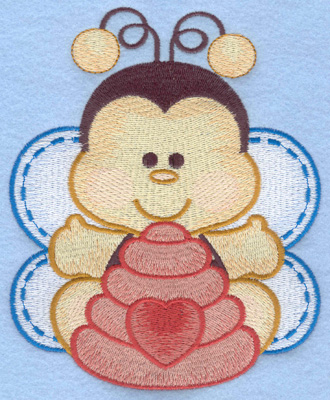 Embroidery Design: Bumble bee with bee hive large4.76w X 5.84h