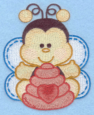 Embroidery Design: Bumble bee with bee hive small3.18w X 3.90h