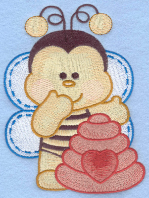 Embroidery Design: Bumble bee with hive right large4.31w X 5.84h