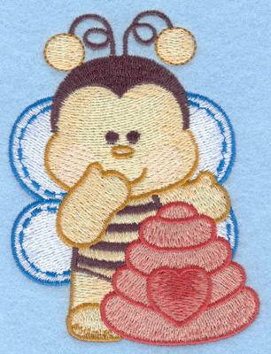 Embroidery Design: Bumble bee with hive right small2.88w X 3.90h