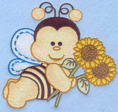 Embroidery Design: Flying bumble bee with sunflowers large5.31w X 4.99h