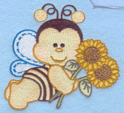 Embroidery Design: Flying bumble bee with sunflowers small4.15w X 3.90h