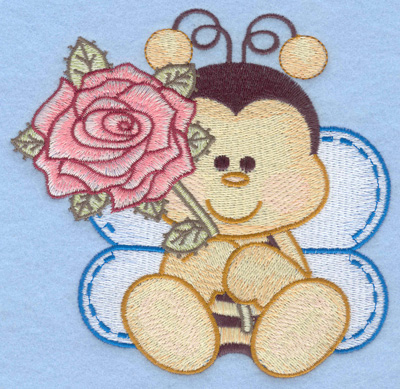 Embroidery Design: Bumble bee sitting with rose large5.13w X 4.97h