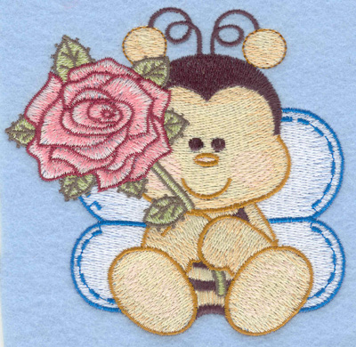 Embroidery Design: Bumble bee sitting with rose small4.14w X 4.01h