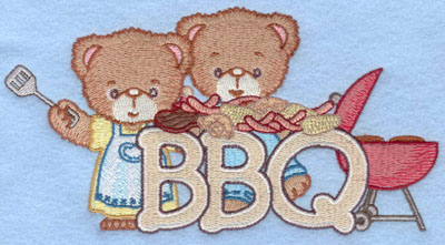 Embroidery Design: BBQ bears6.99w X 3.64h