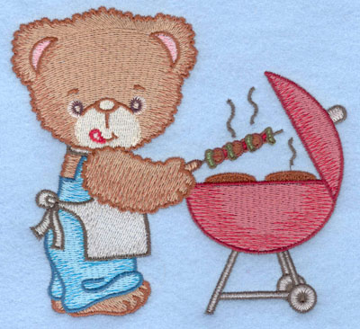 Embroidery Design: Bear grilling shishkabob and hamburger large5.00w X 4.68h