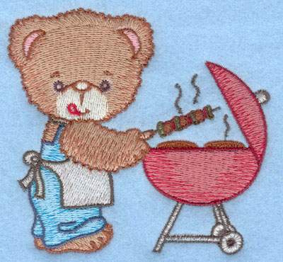 Embroidery Design: Bear grilling shishkabob and hamburger small3.90w X 3.65h