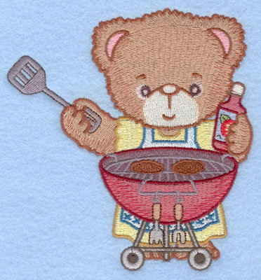 Embroidery Design: Girl bear grilling hamburgers large4.67w X 5.00h
