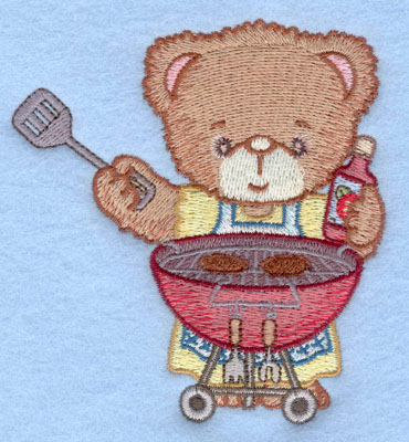 Embroidery Design: Girl bear grilling hamburgers small3.64w X 3.90h