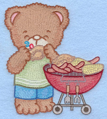 Embroidery Design: Bear at barbeque eating chicken large4.48w X 5.00h