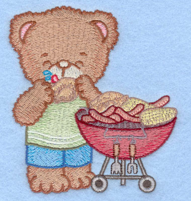Embroidery Design: Bear at barbeque eating chicken small3.49w X 3.90h