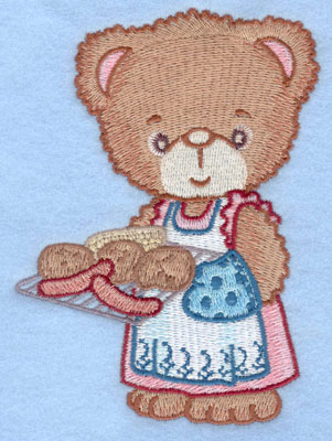 Embroidery Design: Girl bear holding grill large3.76w X 5.00h