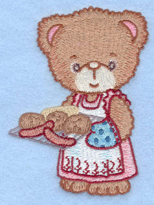 Embroidery Design: Girl bear holding grill small2.93w X 3.90h