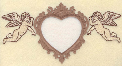 Embroidery Design: Heart Applique with Cherubs on Side7.69w X 3.91h