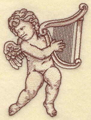 Embroidery Design: Cherub with Harp Small2.91w X 3.82h