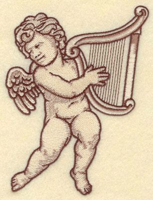 Embroidery Design: Cherub with Harp Large4.34w X 5.69h