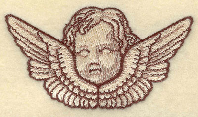 Embroidery Design: Cherub Head with Wings Small3.80w X 2.07h