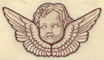 Embroidery Design: Cherub Head with Wings Large5.69w X 3.10h
