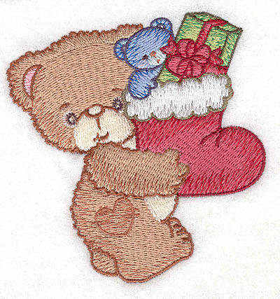 Embroidery Design: Bear carrying Christmas stocking small3.70w X 3.90h