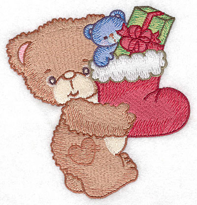 Embroidery Design: Bear carrying Christmas stocking large4.73w X 5.00h