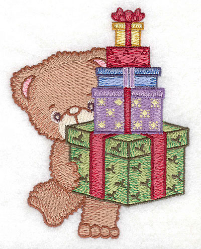 Embroidery Design: Bear carrying gifts large3.90w X 5.00h