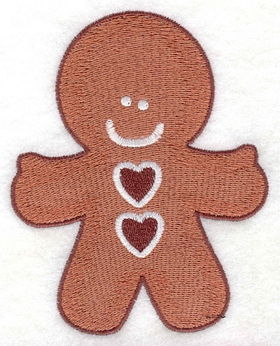 Embroidery Design: Gingerbread man with hearts large4.05w X 5.00h