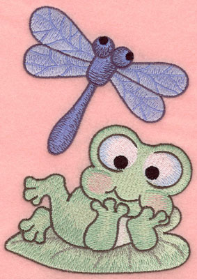 Embroidery Design: Dragonfly with frog on lily pad4.48w X 6.34h