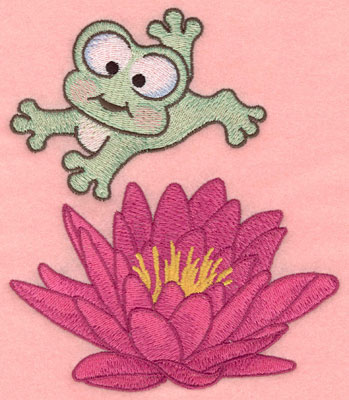 Embroidery Design: Leaping frog over water lily5.00w X 5.80h