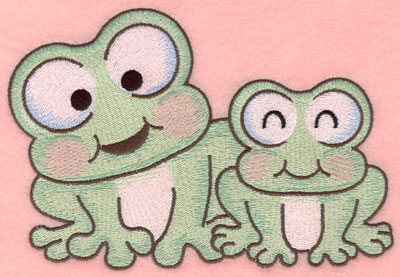 Embroidery Design: Frogs side by side large7.00w X 4.73h